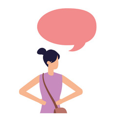 woman with bag waving hand talk bubble vector image