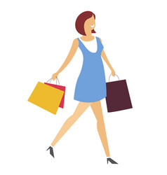 woman with shopping bags walking in dress and vector image