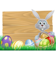 Wooden sign easter white rabbit vector