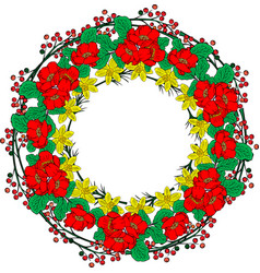 Wreath of red peonies yellow daffodils and green vector