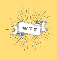 Wtf outline wtf icon in vintage hand drawn ribbon vector