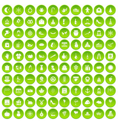 100 festive day icons set green circle vector image vector image