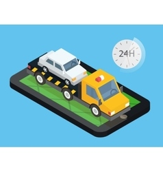 Car towing truck online roadside assistance vector image vector image
