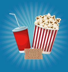 Color background with popcorn pack and soda ticket vector