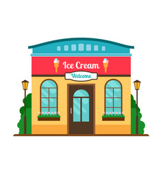 ice cream cafe colorful store front vector image