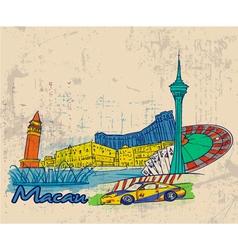 macau doodles vector image
