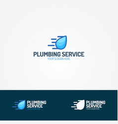 plumbing service logo set with flying water drop vector image vector image