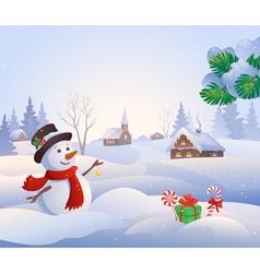 snowy scene vector image vector image