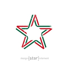 star with Mexico flag colors and grunge effect vector image vector image