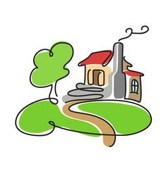 cartoon house icon vector image vector image