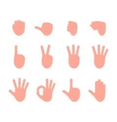 Set of 12 hand gestures vector image