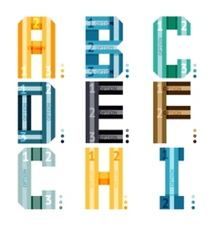 Alphabet letters with stripes and number options vector image
