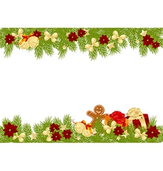 christmas pine frame 2308 01 vector image vector image