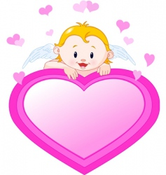 little angel and valentine heart vector image vector image