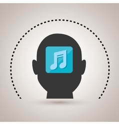 silhouette music note icon vector image
