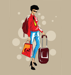 woman casual business woman with carry-on hand lug vector image