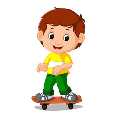 boy playing skateboard cartoon vector image vector image