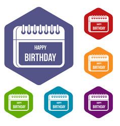calendar happy birthday icons set vector image