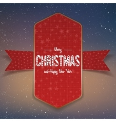 Christmas big red and gold Banner with Ribbon vector image