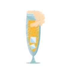 drawing glass cup champagne bubbles ice vector image vector image