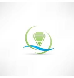 green diamond icon vector image