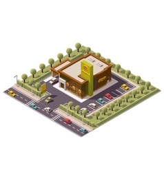 isometric fast food restaurant vector image vector image