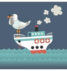 Seagull looking through binoculars on the vessel vector image
