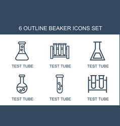 6 beaker icons vector