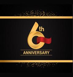 6 years anniversary logotype with premium gold vector
