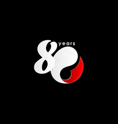 80 years anniversary celebration number red vector