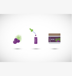 Acai berry flat icon set vector