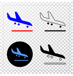 airplane arrival eps icon with contour vector image