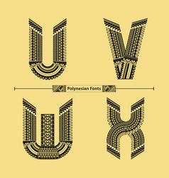Alphabet polynesian style in a set uvwx vector