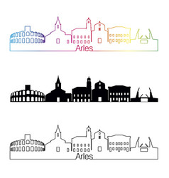 Arles skyline linear style with rainbow vector