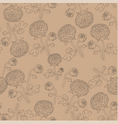Backdrop with hand drawn contour flowers peonies vector
