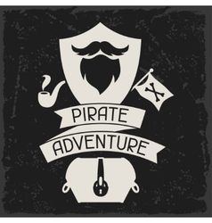 Background on pirate theme with objects and vector image