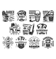 Barbershop icons beard and hair barber shop pole vector