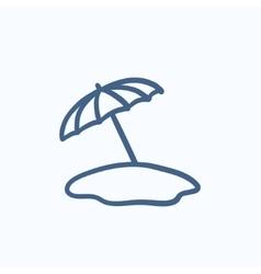 Beach umbrella sketch icon vector