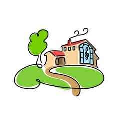 big cartoon house icon vector image