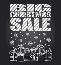 Big christmas sale chalkboard card vector