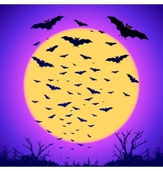 Black bats silhouettes on big yellow moon at vector