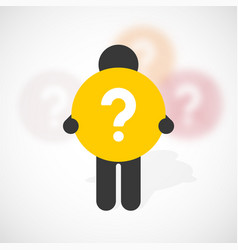 black silhouette of a man holds yellow circle vector image