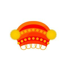 bright red kokoshnik slavic headdress for women vector image
