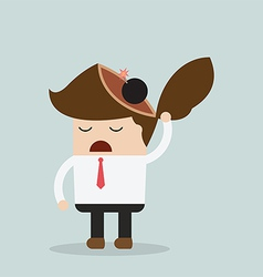 Businessman throw bomb in his head Explode ideas vector