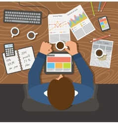 Businessman working top view office workplace vector image
