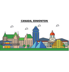 Canada edmonton city skyline architecture vector