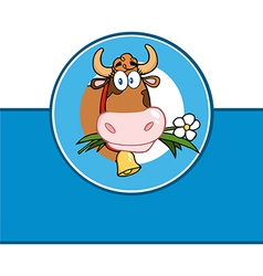 Cartoon cow emblem vector