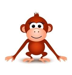 Cartoon cute monkey on a white background vector