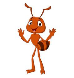 Cartoon happy ant waving hand vector