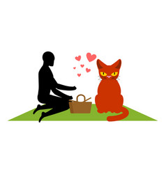 cat lover on picnic my kitty blanket and basket vector image